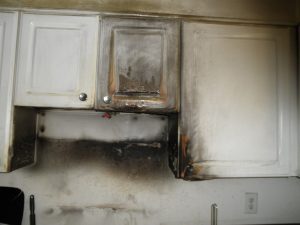 electrical fire damage from microwave kitchen fire